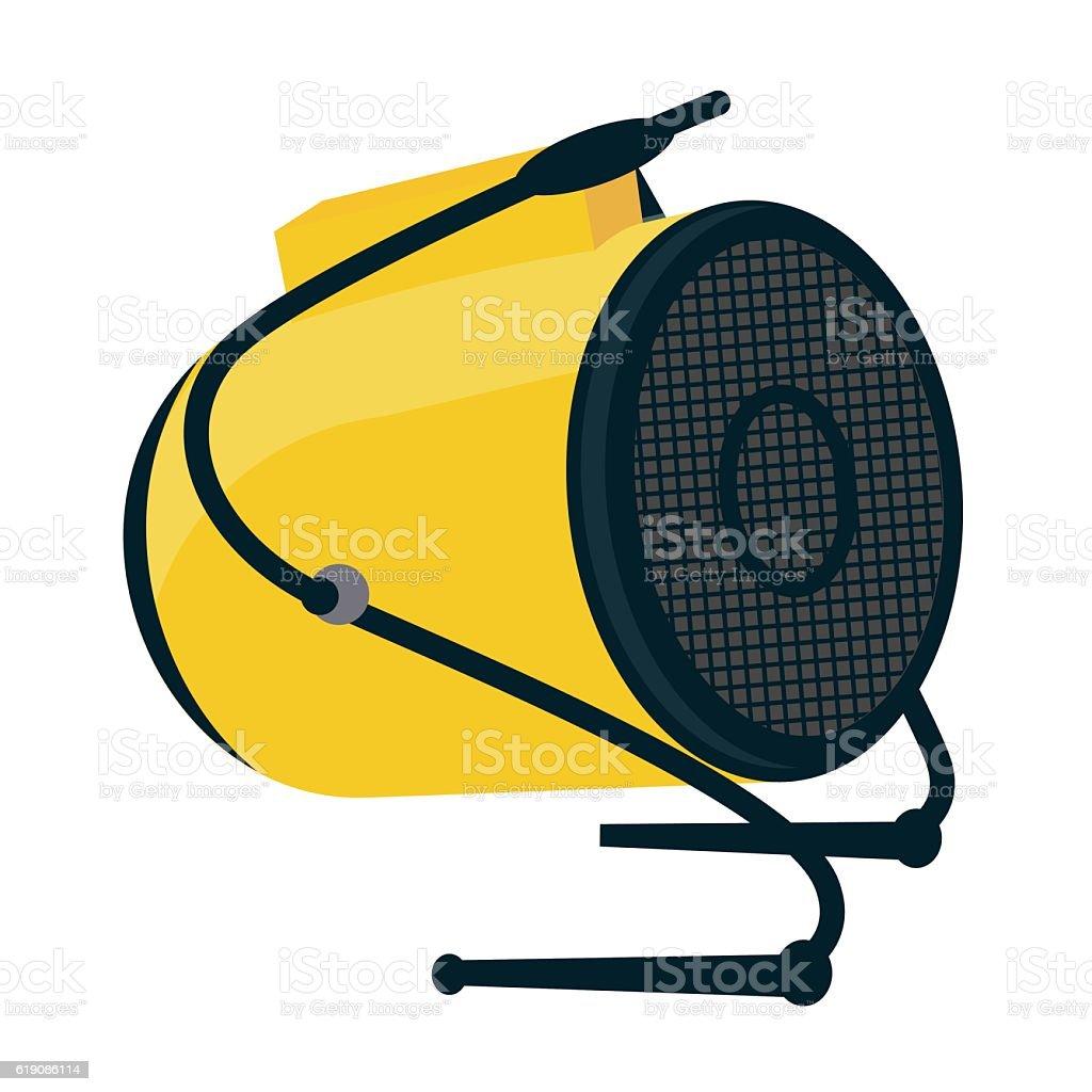 Industrial electric fan heater icon. Construction heat gun instr vector art illustration