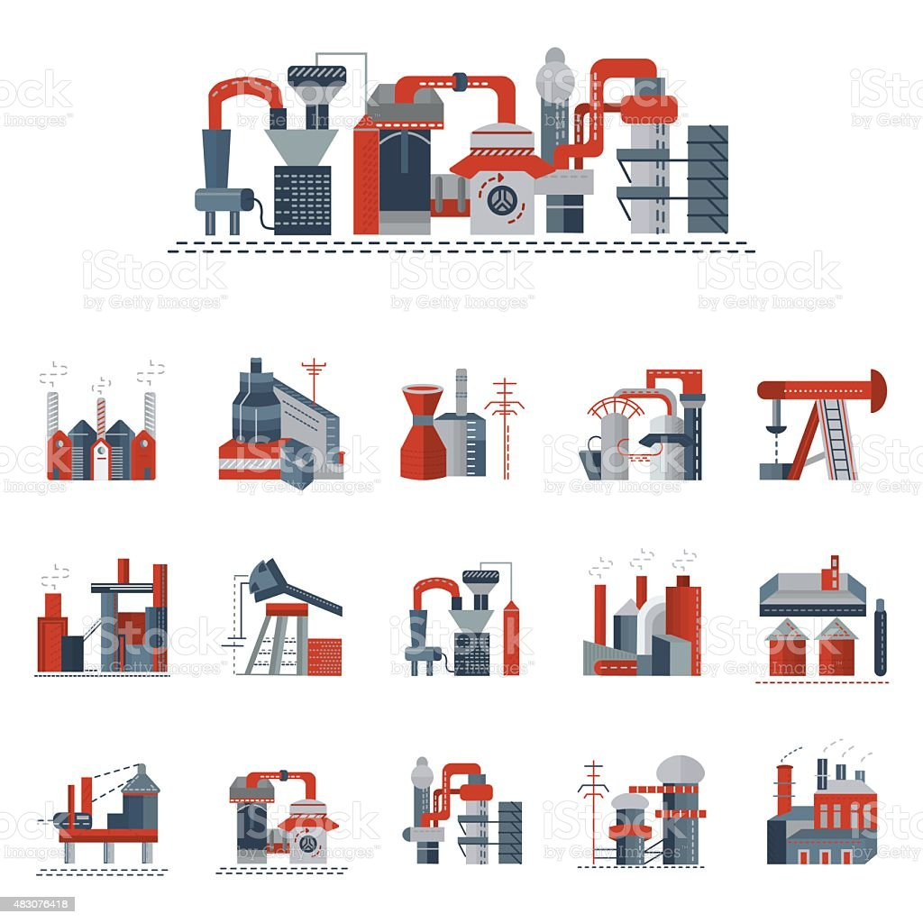 Industrial factories flat color vector icons vector art illustration