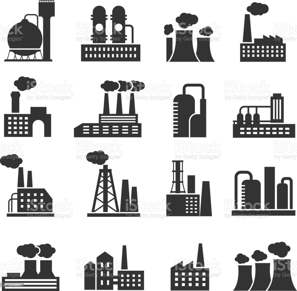 Industrial factory and plant buildings vector icons set vector art illustration