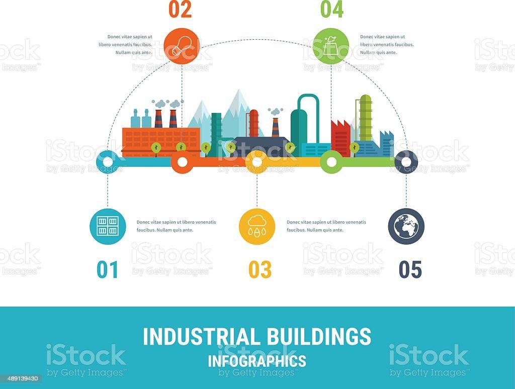 Industrial factory buildings illustration vector art illustration