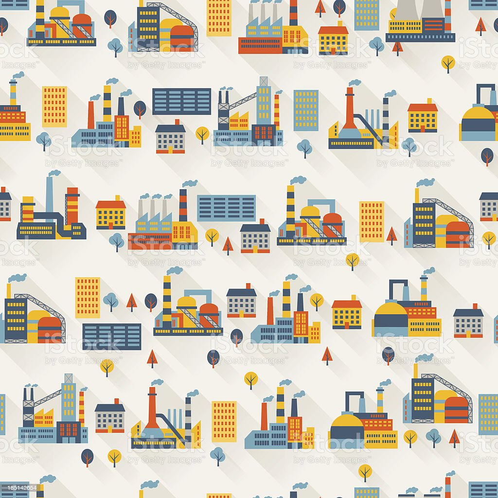 Industrial factory buildings seamless pattern. vector art illustration