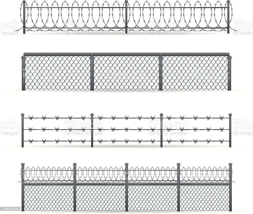 Industrial Fences vector art illustration