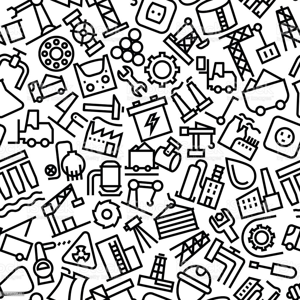 Industrial Hand Drawn Outline Icon Pattern vector art illustration