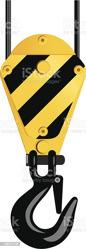 Industrial hook with yellow and black vector art illustration