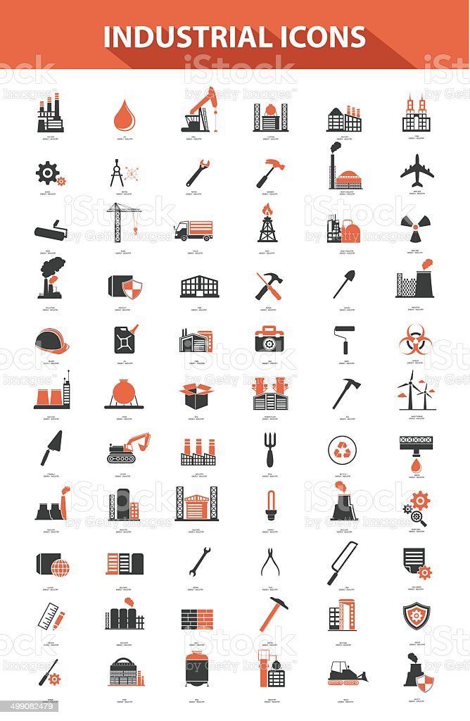 Industrial icon set,Orange version vector art illustration