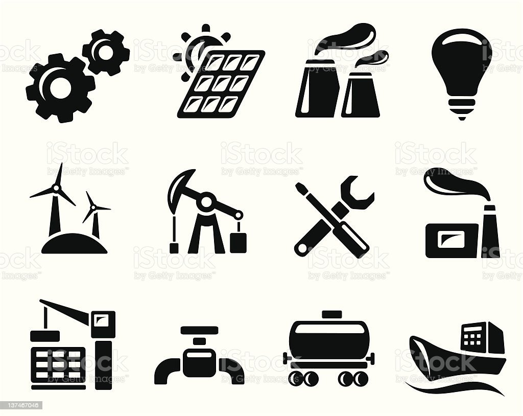 Industrial icons royalty-free stock vector art