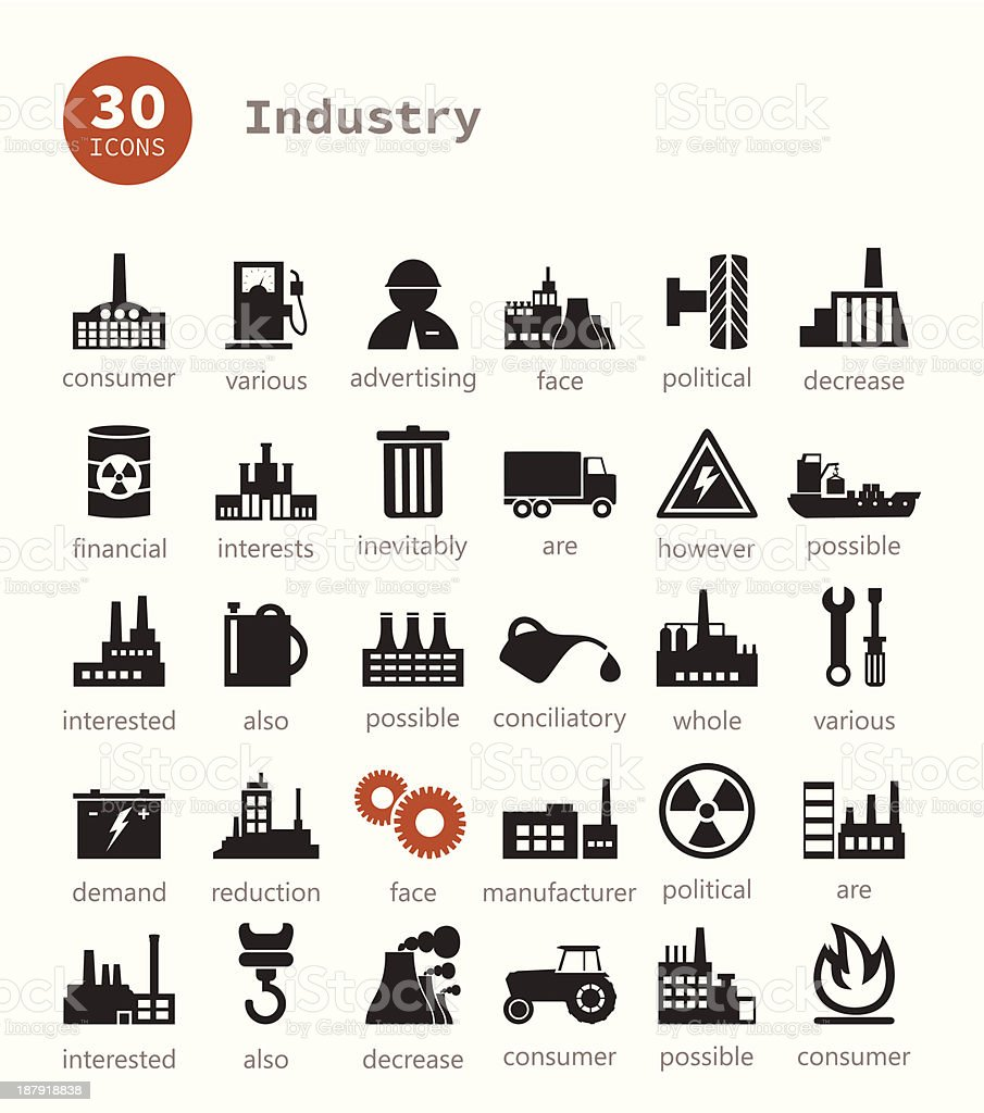 Industrial icons vector art illustration