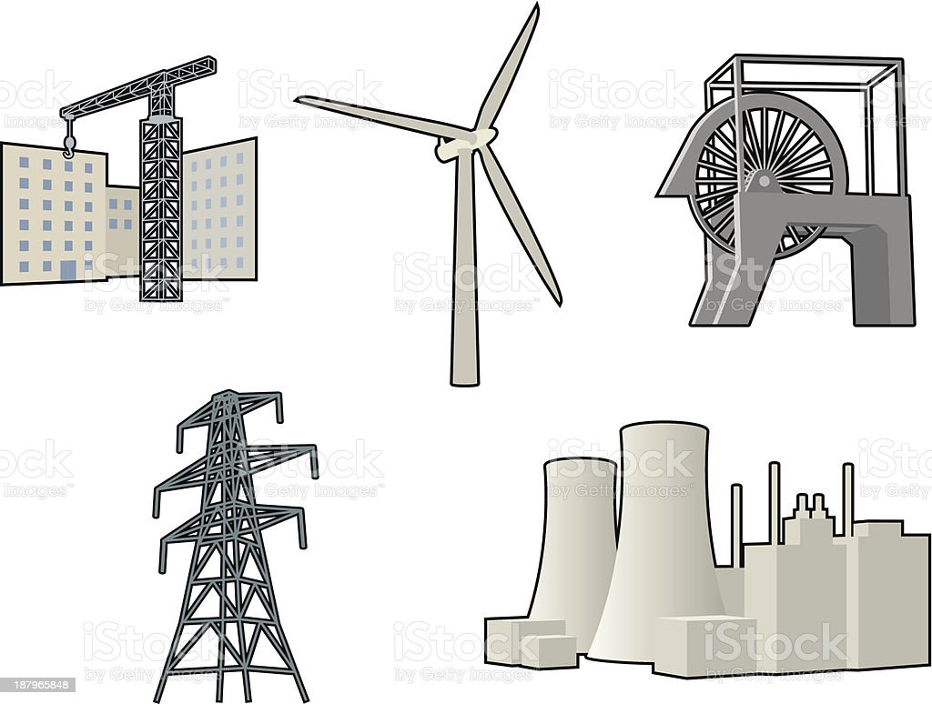 Industrial icons, wind, coal, power, construction royalty-free stock vector art