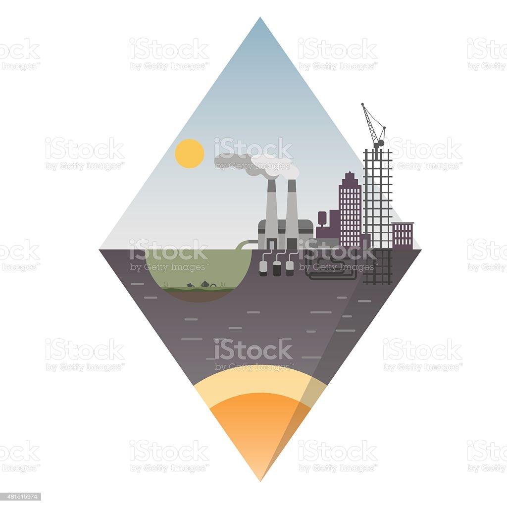 industrial island design. Ecological background suitable for presentations. vector art illustration