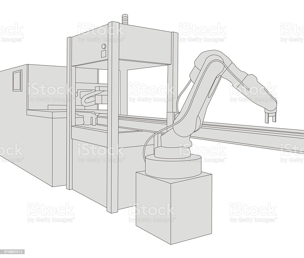 industrial machinery and robotic arm, factory automation vector art illustration