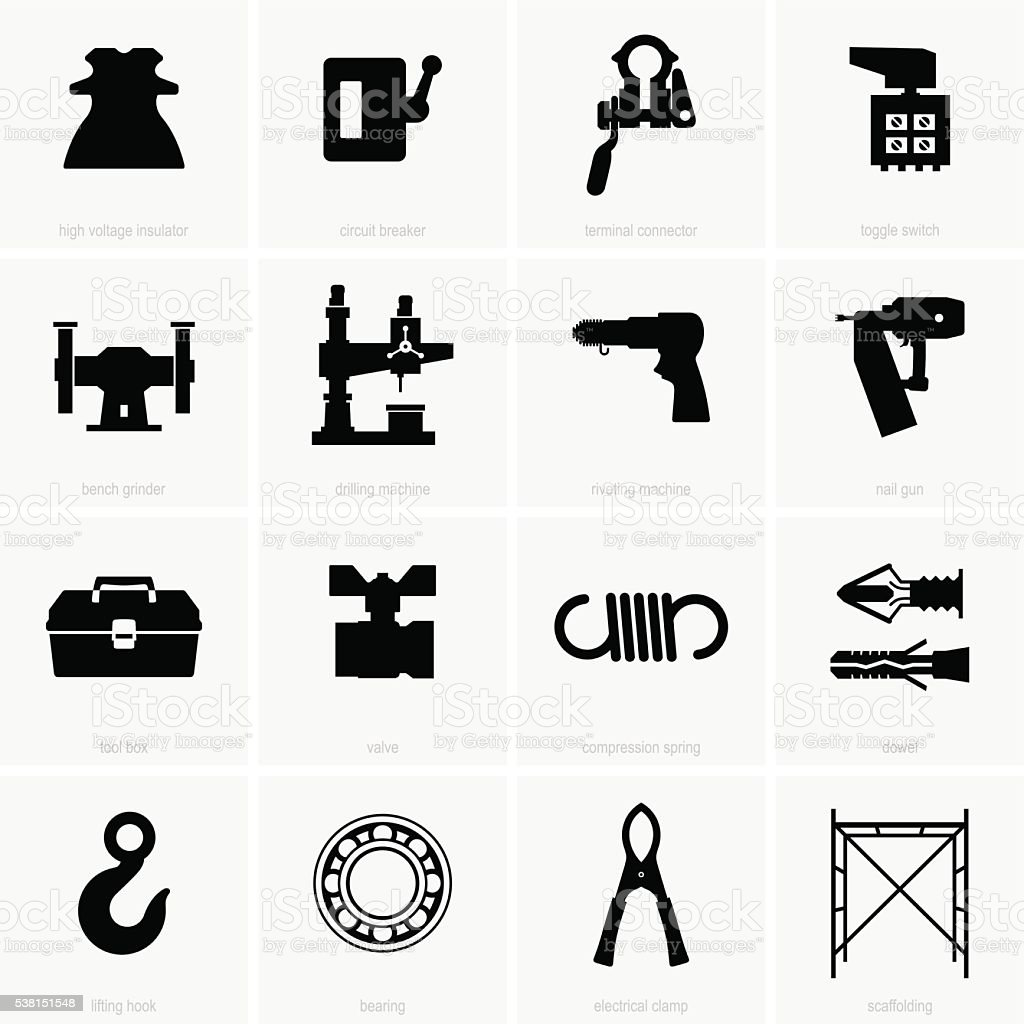 Industrial objects vector art illustration