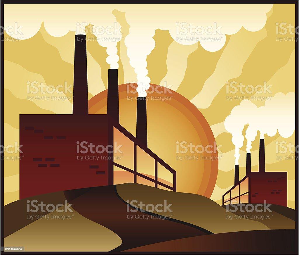 Industrial Pollution vector art illustration