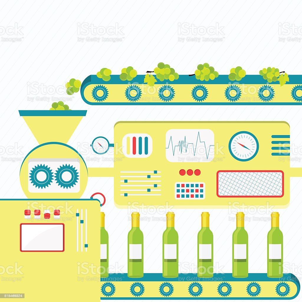 Industrial production of white wine vector art illustration