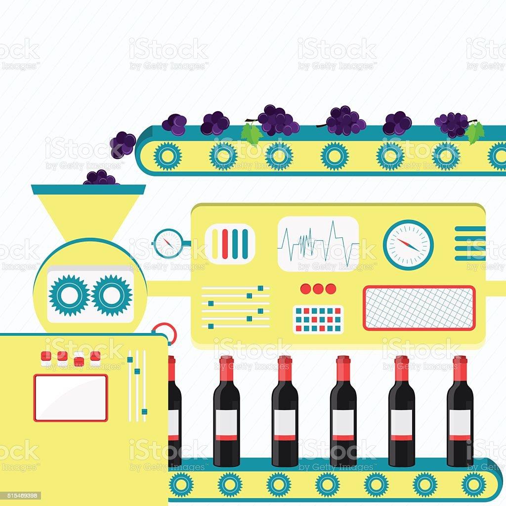 Industrial production of wine vector art illustration