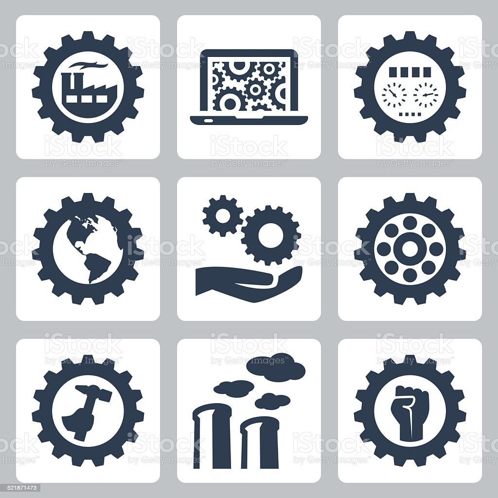 Industrial related vector icons set vector art illustration