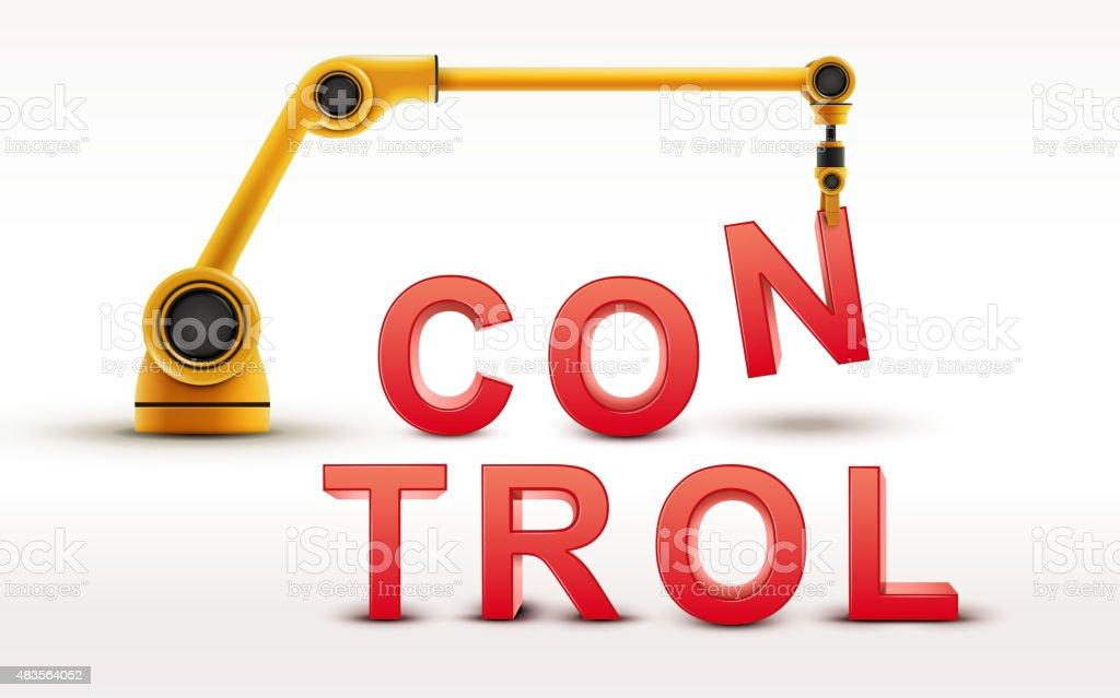 industrial robotic arm building CONTROL word vector art illustration