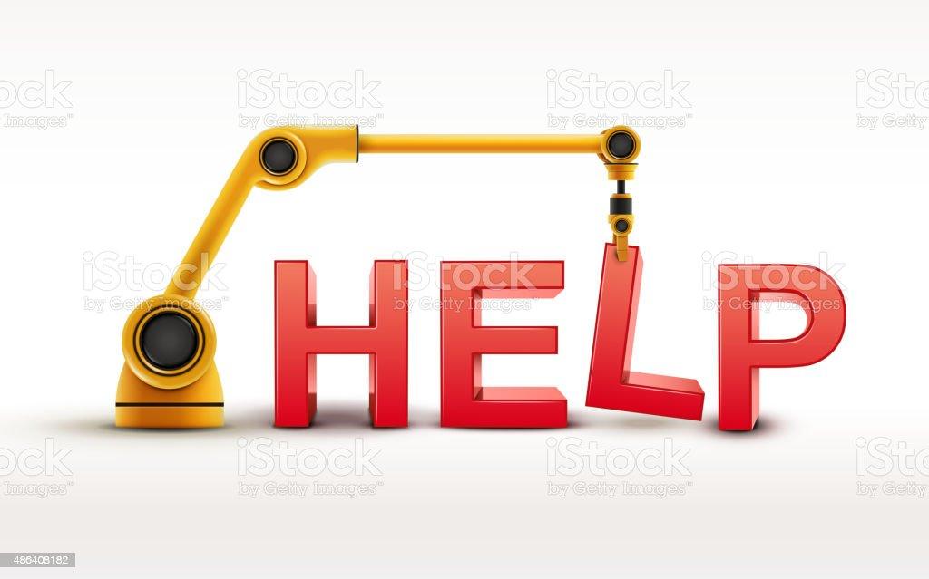 industrial robotic arm building HELP word vector art illustration