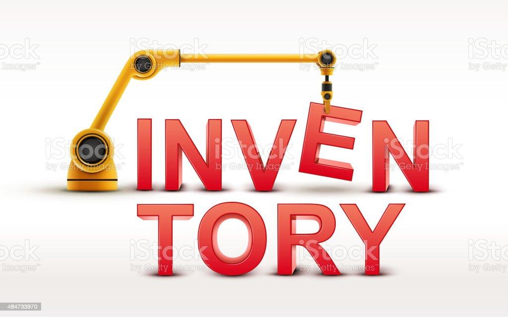 industrial robotic arm building INVENTORY word vector art illustration