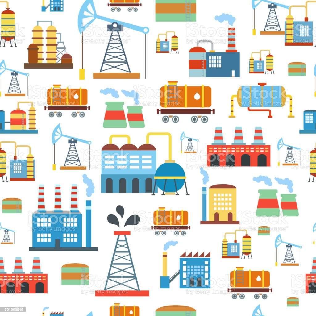 Industrial seamless pattern with oil and petrol icons. Extraction  refinery vector art illustration
