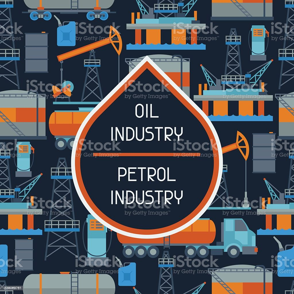 Industrial seamless pattern with oil and petrol icons vector art illustration