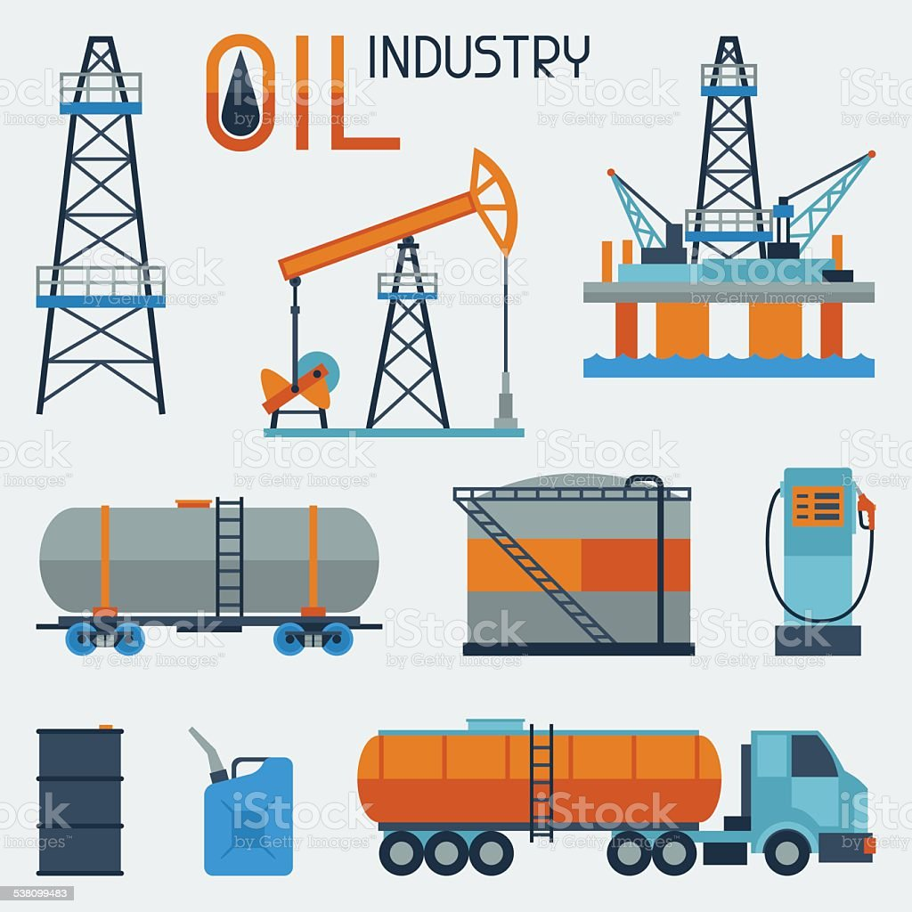 Industrial set of oil and petrol icon vector art illustration