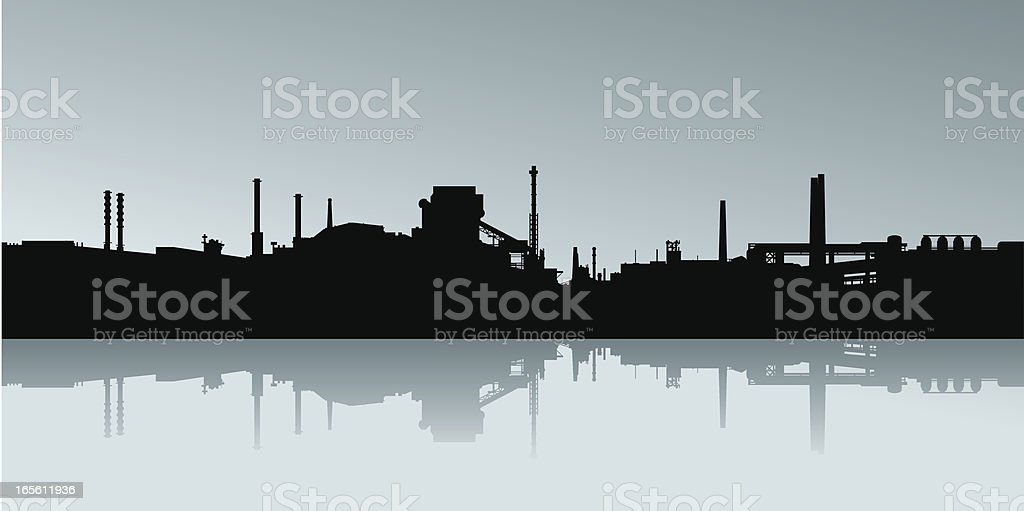 Industrial Skyline Silhouette vector art illustration