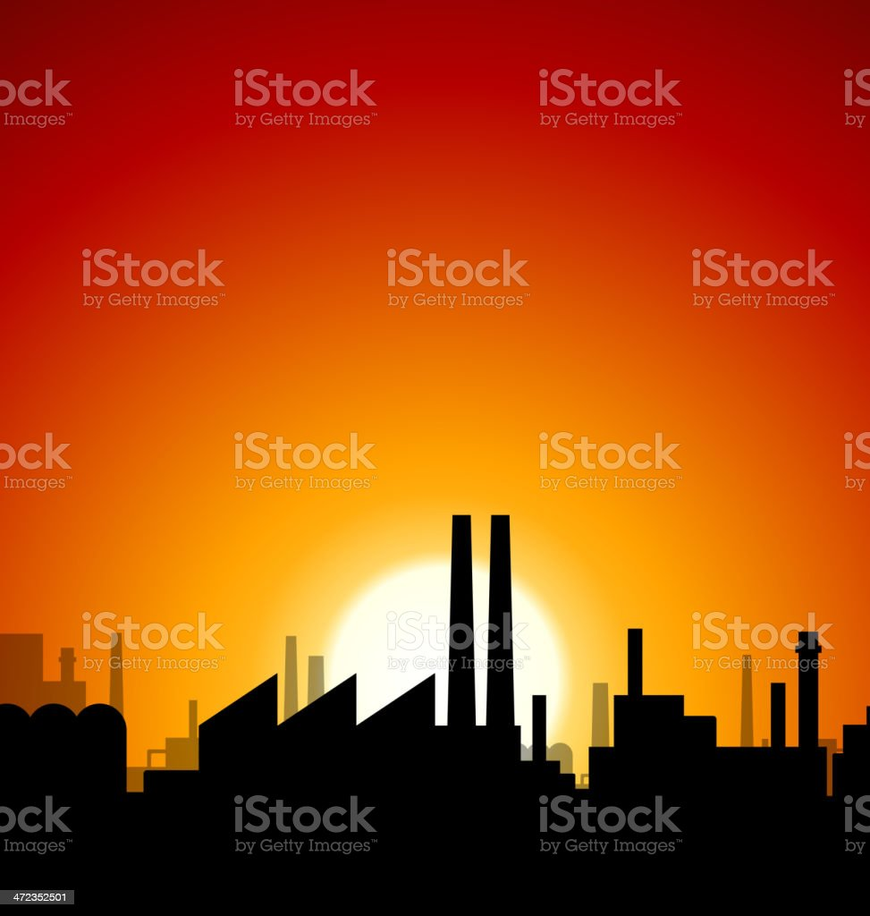 Industrial sunset royalty-free stock vector art