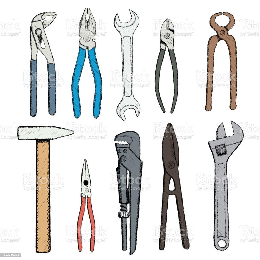 industrial tools. vector art illustration