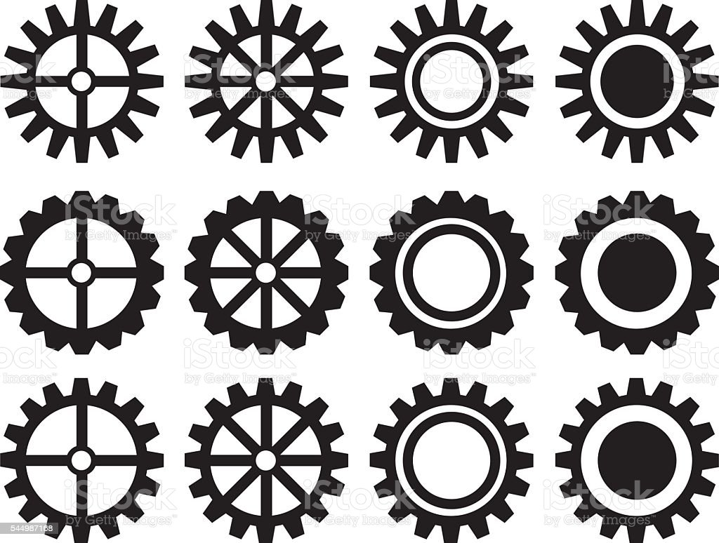 Industrial Toothed Wheels Vector Icon Set vector art illustration
