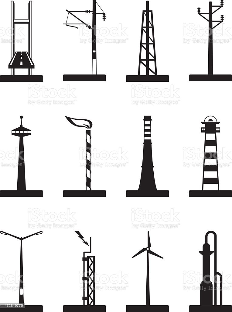 Industrial towers, poles and chimneys vector art illustration