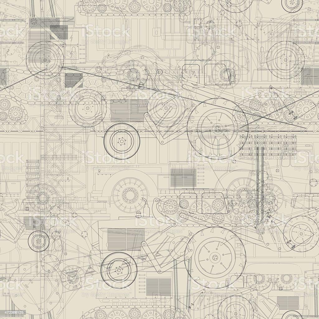 Industrial vehicles pattern vector art illustration