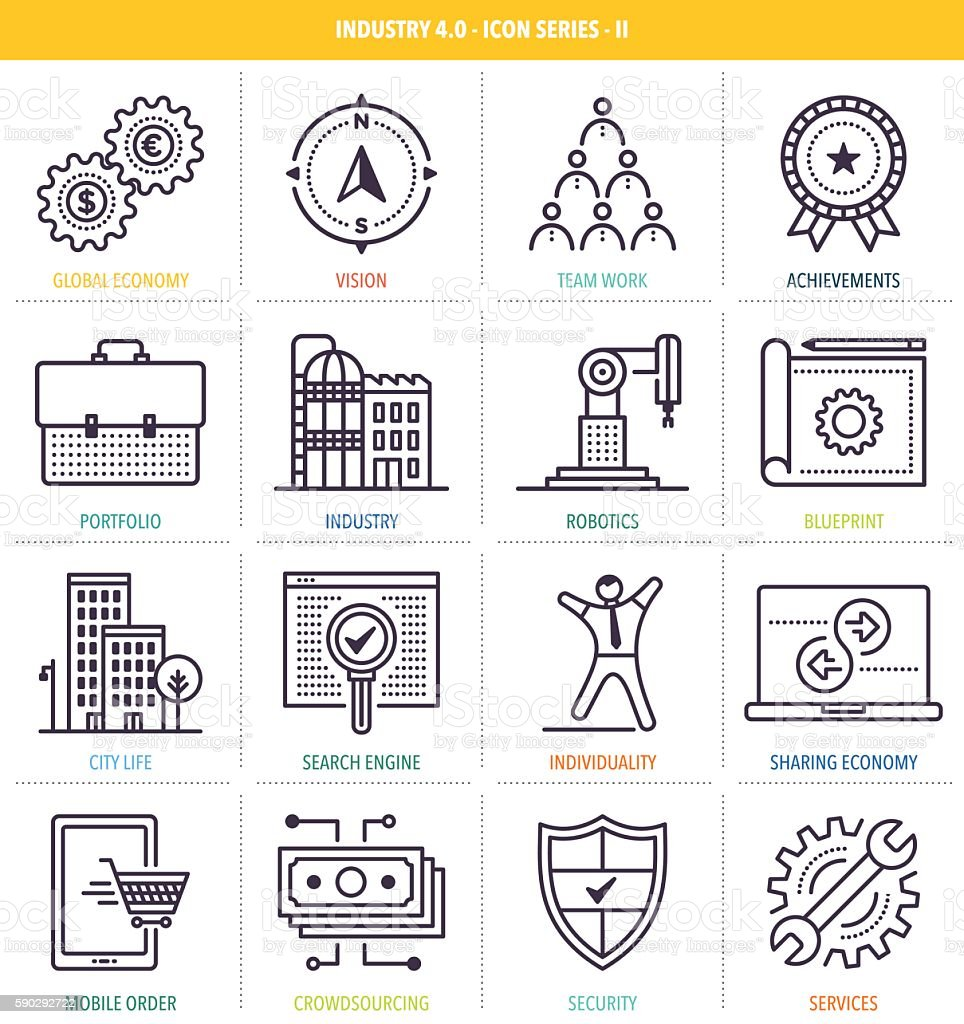 Industry 4.0 Icon Set vector art illustration