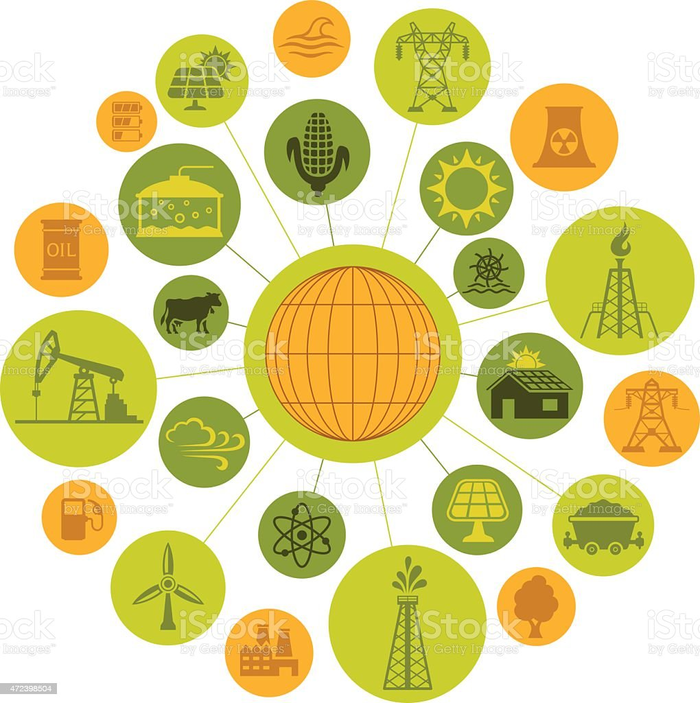 Industry and Energy Sources Montage vector art illustration