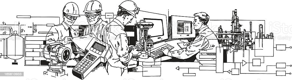 Industry and Service Workers vector art illustration