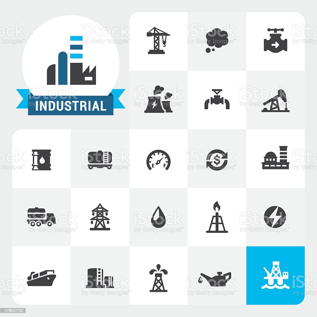 Industry base vector icons and label vector art illustration