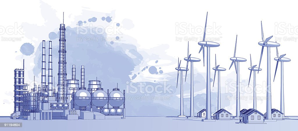 Industry concept: plant, wind turbines & houses vector art illustration