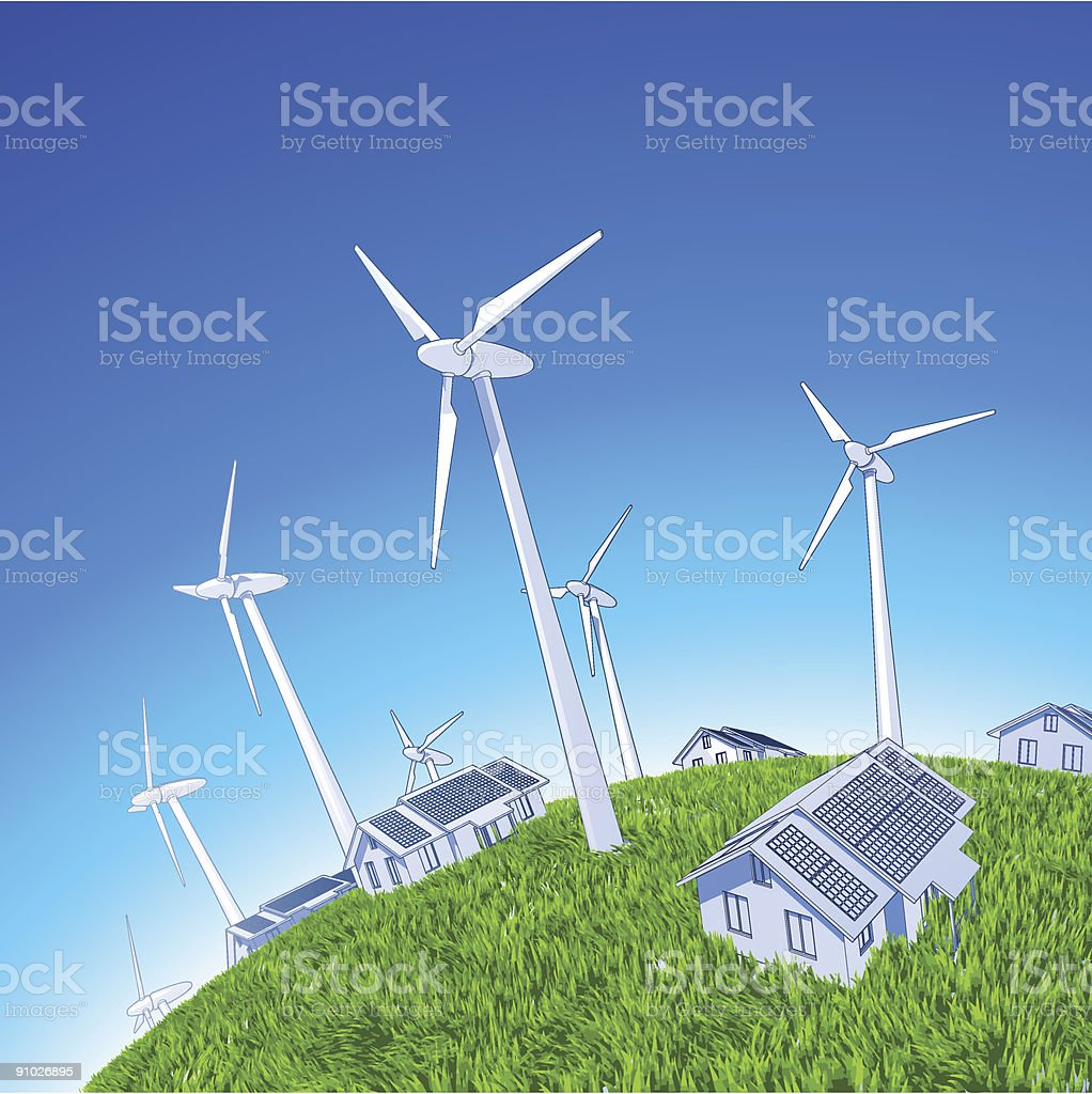 Industry concept: windmills, houses & green grass vector art illustration