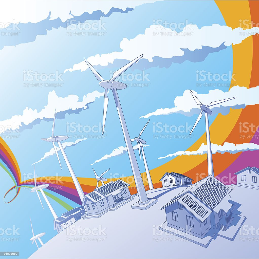 Industry concept: windmills, houses & rainbow vector art illustration