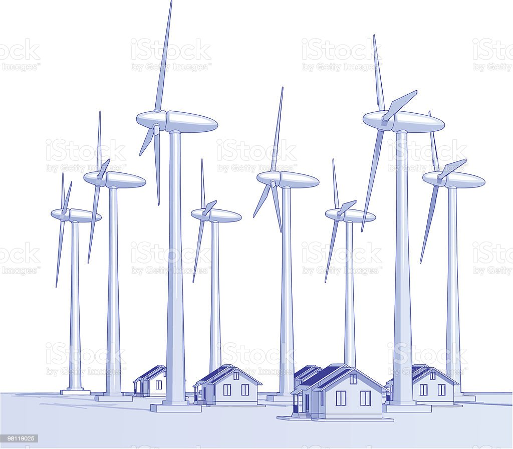 Industry concept: windmills & houses vector art illustration