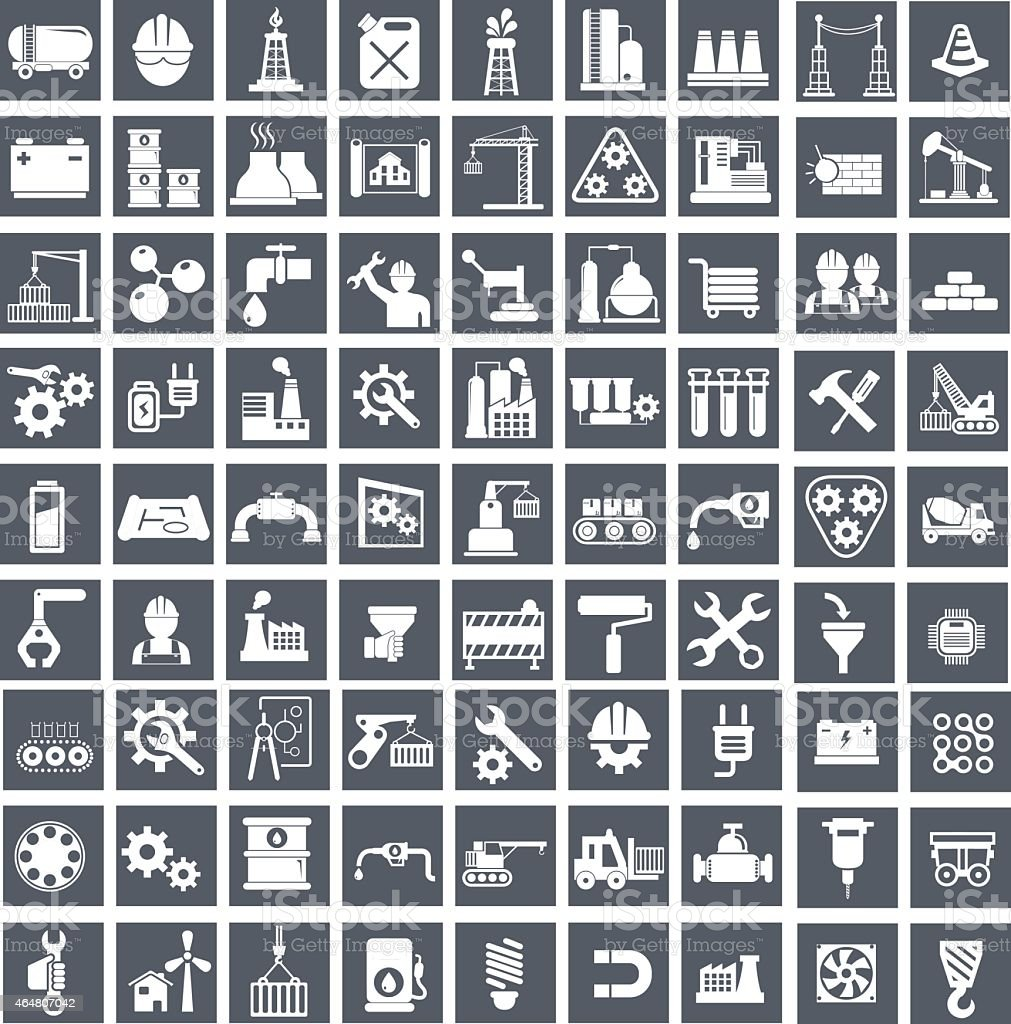 Industry, energy and construction icons set, industrial and engineering vector art illustration