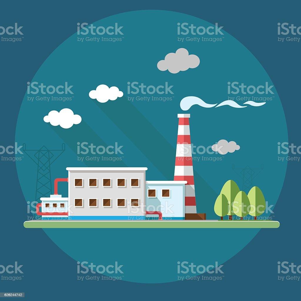 industry factory. Flat style vector illustration. vector art illustration