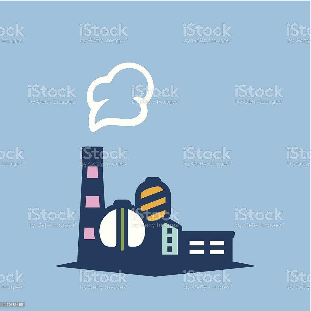 Industry Factory on blue vector art illustration