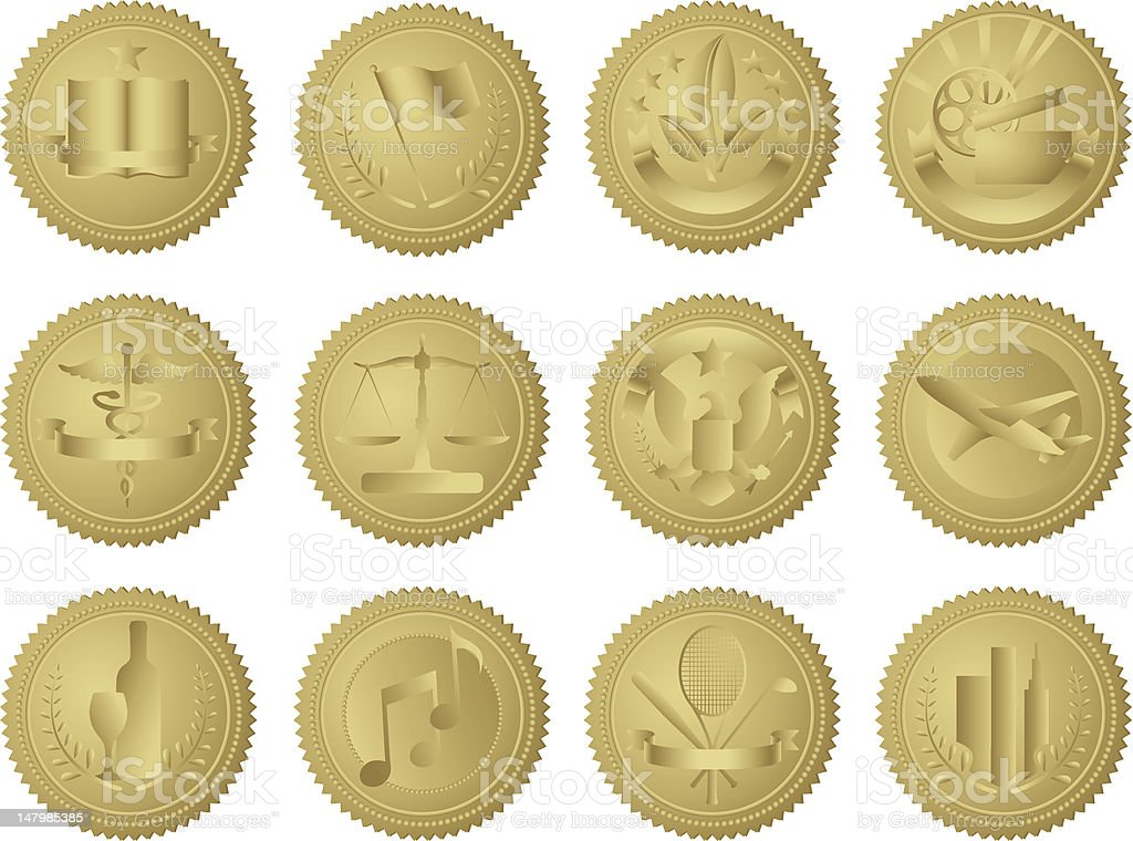 Industry Gold Seals royalty-free stock vector art