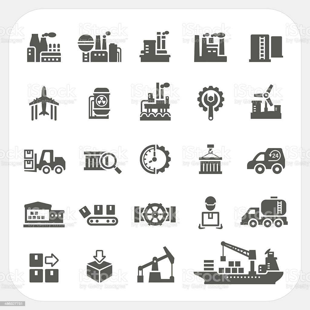 Industry icons set vector art illustration
