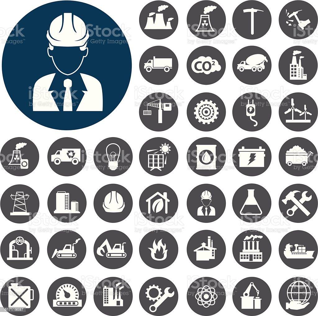 Industry icons set. Vector Illustration eps10 vector art illustration