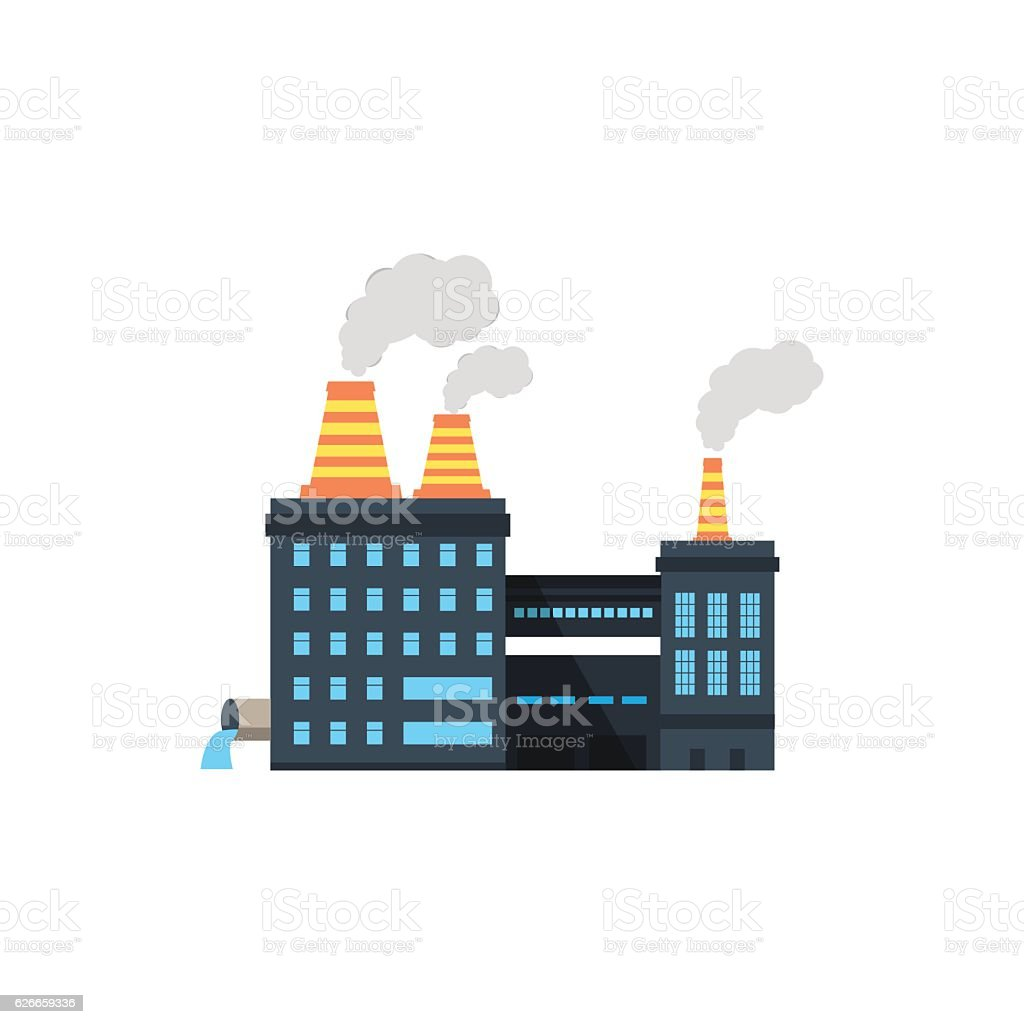 Industry manufactory building icon. vector art illustration