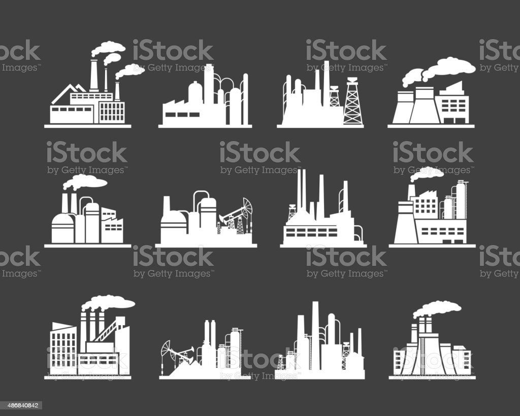 Industry manufactory building icons vector art illustration