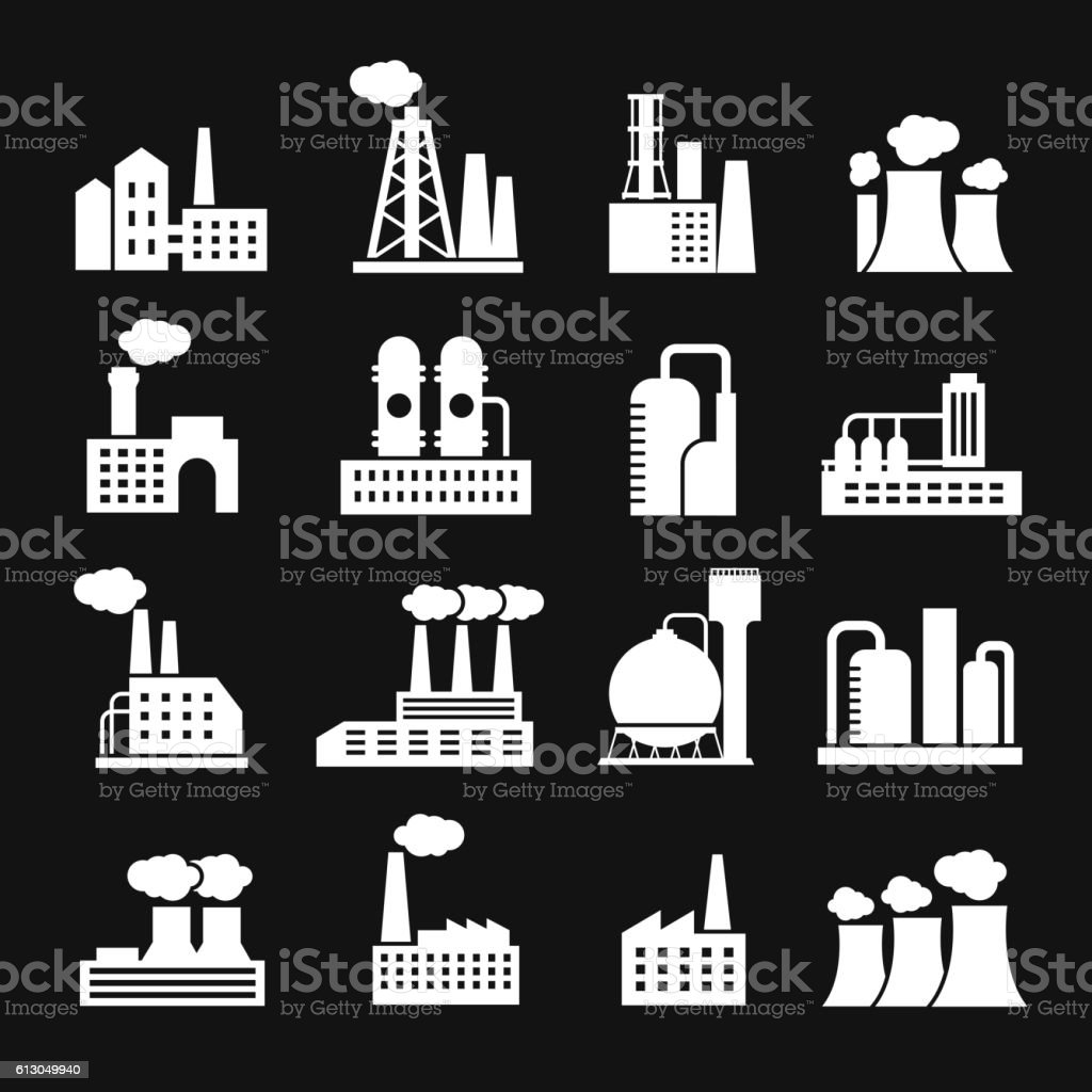 Industry manufactory buildings factory and plant silhouettes vector icons vector art illustration