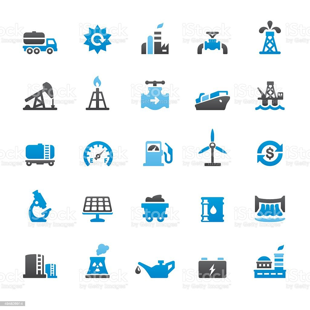 Industry related vector icons vector art illustration