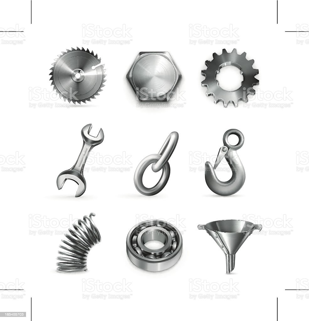 Industry, set of icons vector art illustration